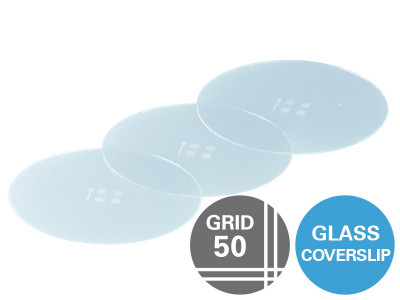Gridded Glass Coverslips Grid-50